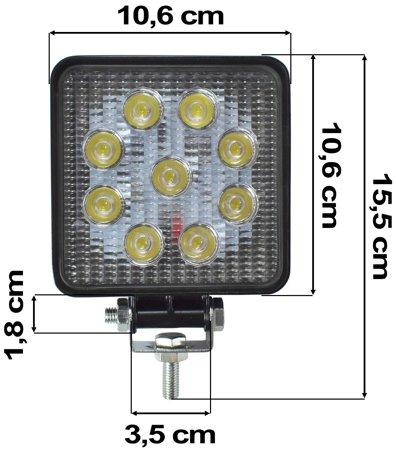 Lampa robocza 9 LED 27W 9-32V